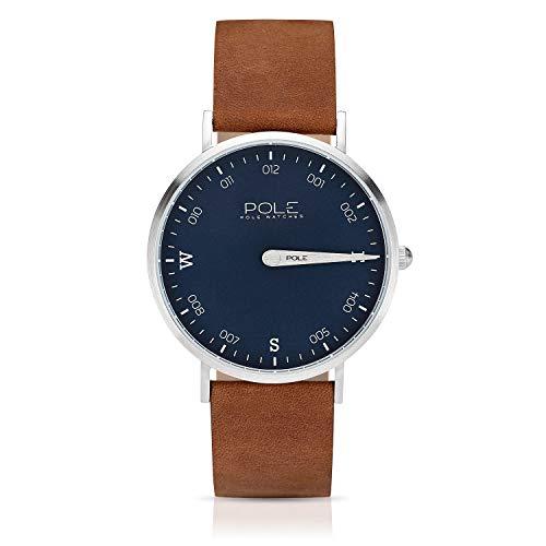 Pole Watches - Livid - Quarz-Analoguhr für Herren mit Blau Zifferblatt und Kamel Lederarmband B-1001AZ-MA04