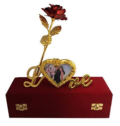 INTERNATIONAL GIFT Red Rose 25 cm, Photo Frame Stand and Red Velvet Box (25 cm, Red)