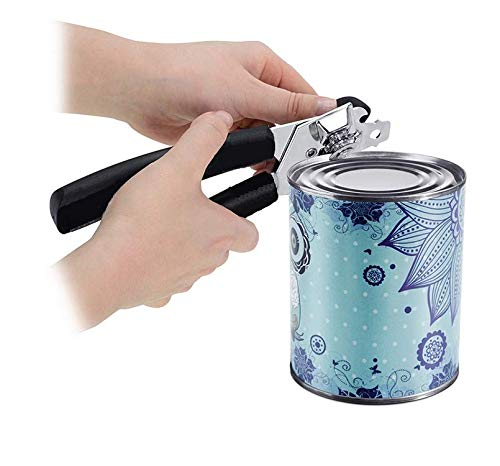 RASIKVAR Can Opener Manual, 2-in-1 Stainless Steel Cordless Tin Openers with Lids Off Jar Opener Bottle Cap Opener in Handle Smooth Edge and Hanging Hole