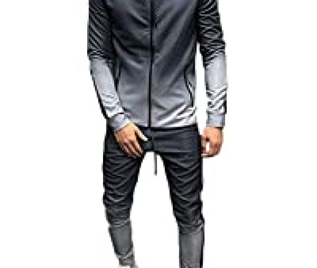 Mens 2 Pieces Gradient Outfit Set Long Sleeve Full Zip Hooded Pullover Sweater And Long Pants