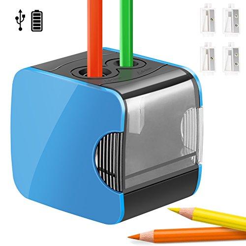 Elektrischer Anspitzer,Qhui automatischer Bleistiftspitzer elektrisch für Kinder,Batterie und USB betrieben,4 Ersatzmesser,profi Spitzer 2größen für dicke Buntstifte,große Stifte und dünne Stifte,Blau