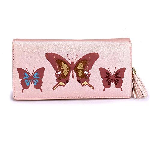 Xardi London Large Zip Around cartera de piel sintética diseño de mariposa mujeres Tarjeta Moneda Nota Carteras Rosa rosa