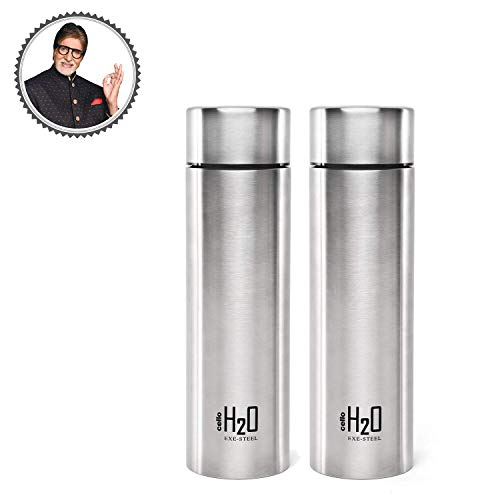 Cello H2O Stainless Steel Water Bottle Set, 1 Litre, Set of 2, Silver