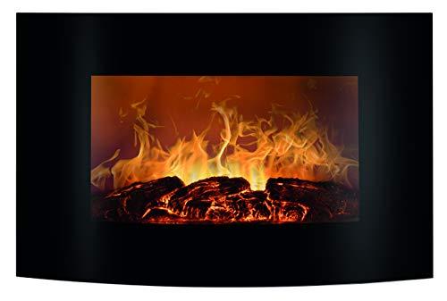 Bomann EK 6021 CB Elektrischer Kaminofen mit Flammensimulation und Heizlüfterfunktion, Ambiente-Beleuchtung, Multifunktionsdisplay, Steuerung per Fernbedienung, Wandmontage, schwarz