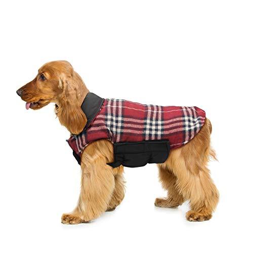 Wooce Cappotto scozzese reversibile per cani Autunno Inverno Caldo e accogliente gilet imbottito da...