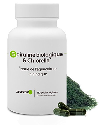 Alga Spirulina biologica & Clorella * 400 mg/120 capsule * Due alghe ricche di Vitamine * Fabbricato in Francia