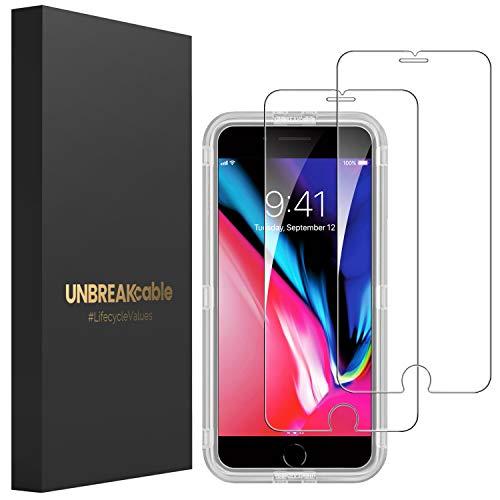 UNBREAKcable [2-Pezzi] Pellicola Vetro Temperato iPhone 8/7/6S/6 - HD 9H Durezza, Vetro Temprato Premium Doppia Difesa Serie per iPhone 8/7/6S/6 - [Anti-graffio, Anti-Impronta, Senza Bolle]