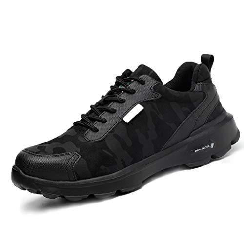 Zapatos de Seguridad Hombres con Punta de Acero Zapatillas de Trabajo Calzado Ultra Liviano Reflectivo Transpirable Ligeros Negro Camo 36-45 BK37