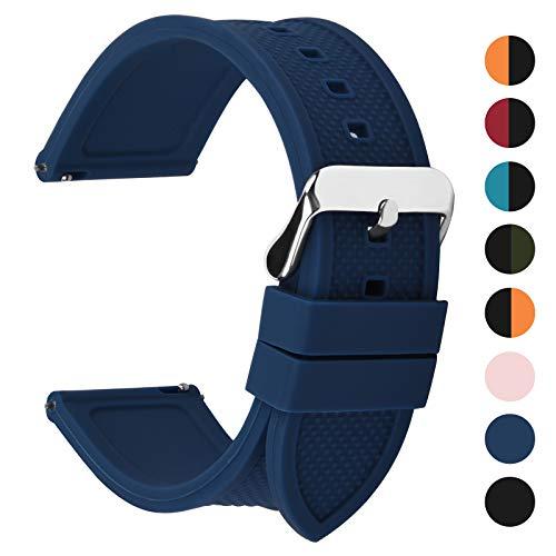 Fullmosa 10 Colori per Cinturino 18mm 20mm 22mm 24mm in Silicone a sgancio rapido, Cinturino in caucciù con Fibbia in Acciaio Inossidabile,per Uomo e Donna,20mm Blu