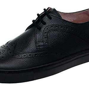 Petasil Pan Girls Leather Black Lace Up School Shoe 41RWXUi2BNL