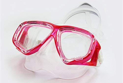 WOWDECOR Maschera Subacquea per Adulti e Bambini con Visione Corta, Maschera da Snorkeling Maschera Subacquea Dioptrin correzione diottrie, Rosa Rossa, -4,5