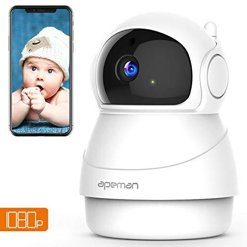 Apeman FHD 1080p Telecamera Sorveglianza Wifi, Videocamera IP Wireless Interno, Visione Notturna a Infrarossi, Audio Bidirezionale, Sensore di Movimento, Ruotato