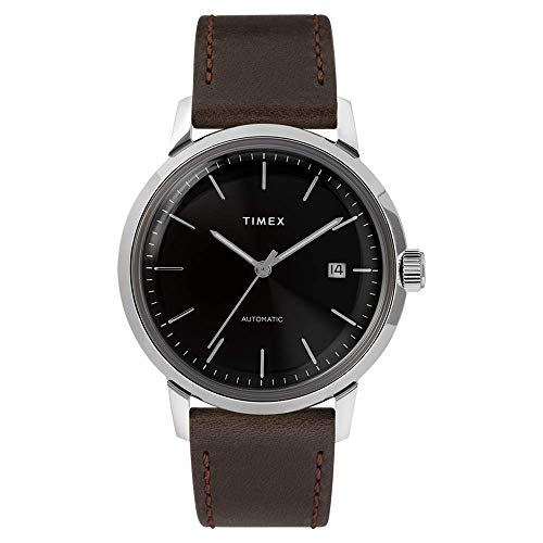 Timex Marlin Herren-Armbanduhr, automatisches Gehäuse, SST 40 mm, Stahl, Zifferblatt schwarz - TW2T23000
