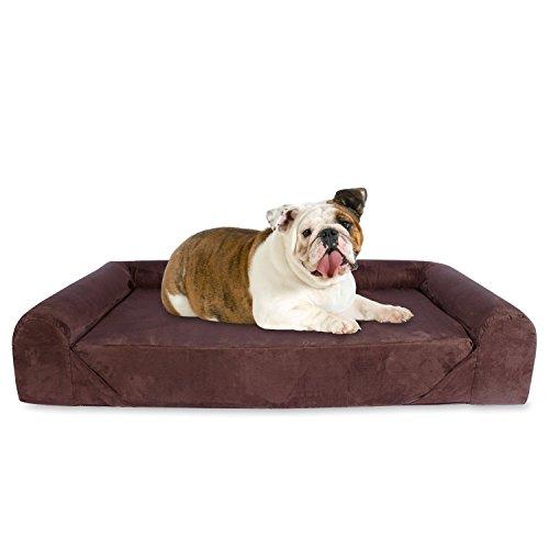 KOPEKS Sofa Letto per Cane Grande Stile Lounge Cani Animali con Memoria Memory Foam Ortopedico 106 x 86 x 20 cm - L - Marrone