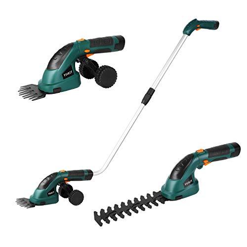 FIXKIT Tijeras Cortacésped con Batería Hedge Trimmer Shrub Shears 2 en 1 con Mango Telescópico, Ruedas - Incluye Batería y Cargador, 7.2 V, 1.5 Ah * 2 (Modelo-1)