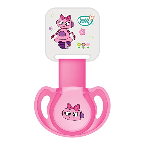Buddsbuddy BB7039 Premium Pacifier with Ribbon and Clip, 2 Pieces (Pink)