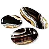 Gems&JewelsHub 125.80CTS 100% Naturale Fasciato Agata cabochon Ovale 3pz Lotto all Ingrosso