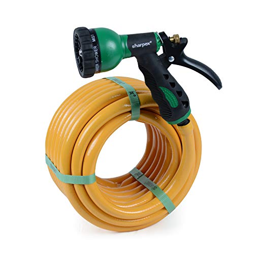 Sharpex Hybrid Inner Braided Water Hose Pipe with 8 Patterns High Pressure Garden Hose Comes with Tap Connector And Hose Clamps Nozzles - 0.5 Inch / 10 MT