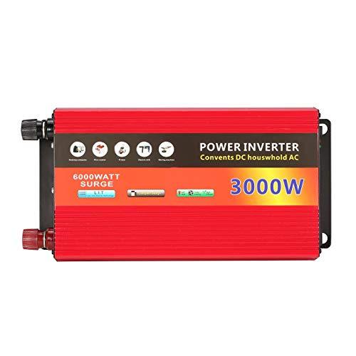 LasVogos 3000W de la energía Solar del hogar Inversor Transformador de Voltaje de Onda sinusoidal Pura Potencia del inversor 12V CC a 220V AC convertidor Cargador (Rojo)