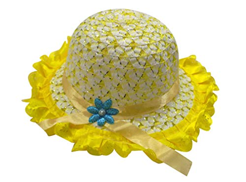 Majik Summer Hats for Baby Girls Toddlers UV Sun Protection Babies Hats Caps for Indoor Outdoor Use 15 Grams Pack of 1 (Model 2 Yellow)