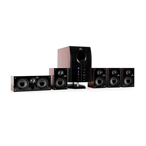 auna 525 WD - Surround Sound System 5.1, home theatre, RMS 125 Watt, activ subwoofer, woofer 5,25' (13 cm), bass reflex, 5 casse satelliti, entrata AUX, effetti luminosi LED, marrone