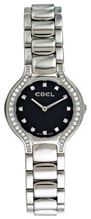 Ebel Beluga Mini Stainless Steel & Diamond Womens Watch Black Striped Dial 1215867 9003N18/391050