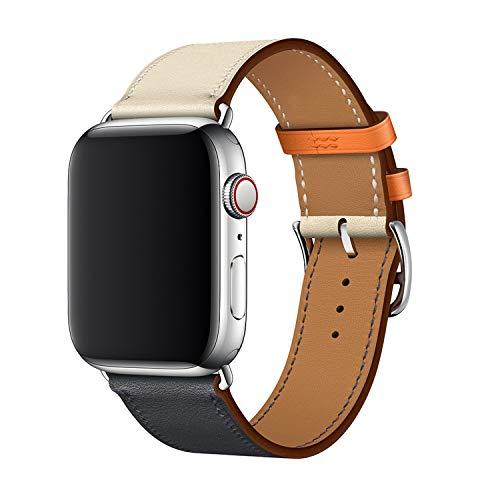 XCool Cinturino Apple Watch 42mm 44mm, Pelle Blu Arancia per Donna Uomo per iwatch Serie 4 Serie 3 Serie 2 Serie 1