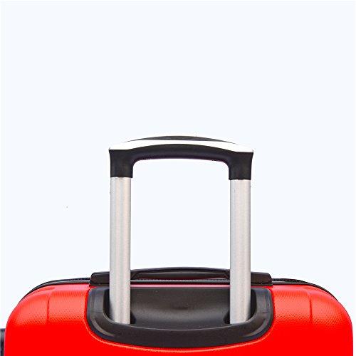 SHAIK SerieCLASSIC JFK Design Hartschalen Trolley, Koffer, Reisekoffer 4 Doppelrollen Zwillingsrollen, Zahlenschloss (Set, Rot) - 6