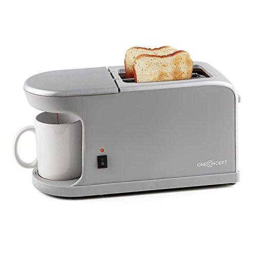 oneConcept Quickie 2 in 1 tostapane con macchina per il caffè integrata (900-1050w, doppio slot, 7...