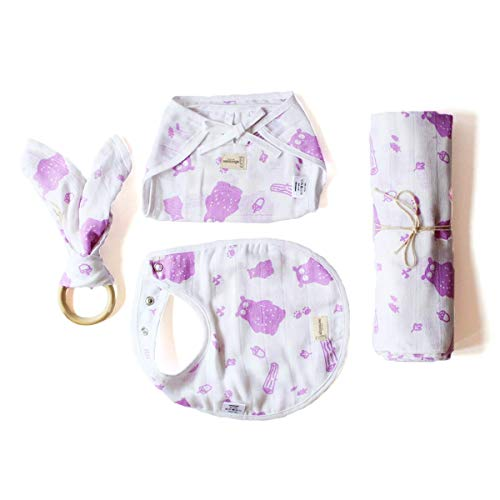 Shumee Organic Cotton 4piece New Born Baby Gift Set with Swaddle Blanket, BIb, Nappy, Teether - Purple Bear (0 Months+)