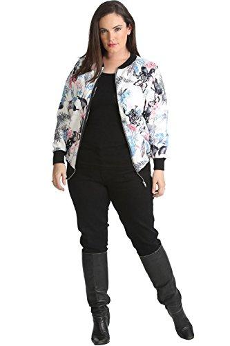 Islander Fashions Womens Butterfly Floral Impreso Bomber Jacket Ladies Fancy Party Zipper Top S/2XL Reino Unido 8-22