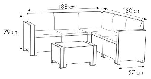Bica 9075.3 Set Nebraska Corner 5 Posti, Marrone, 187 x 179 x 79 cm