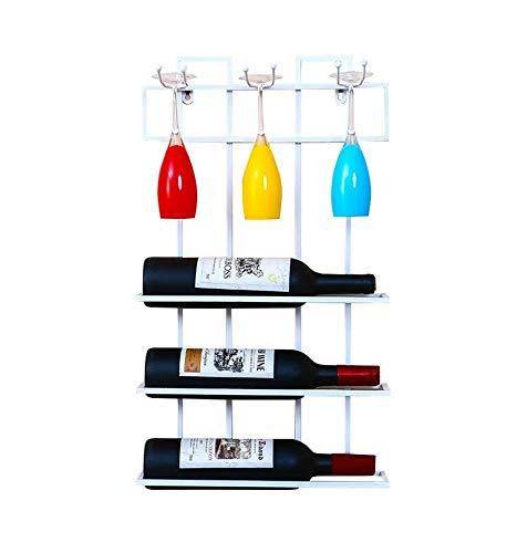 CZZ Cantinetta in Metallo da Parete.Portabottiglie per Vino.Porta Bicchiere da Vino...