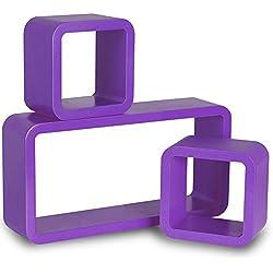 WOLTU RG9210dla Wandregal Cube Regal 3er Set Bücherregal Regalsysteme, Retro Hängeregal Würfel, lila