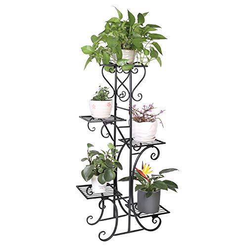 unho Blumentreppe mit 5 Ablagen aus Metall Pflanzentreppe Blumenregal Blumenbank 107 x 22 x 57 cm