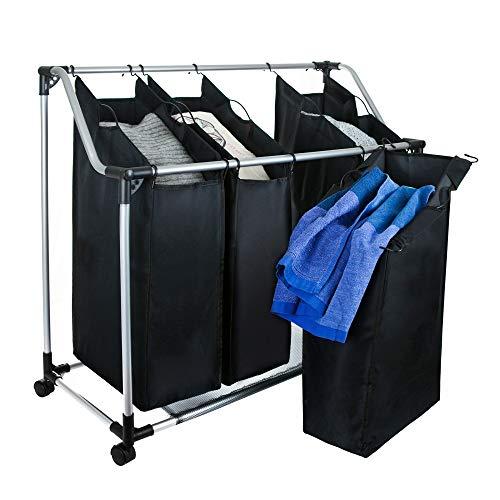 Grafner Wäschesortierer | 4 Fächer | mit Rollen | schwarz | stabil | bis 20 kg | Wäschesammler Wäschekorb Wäschebox