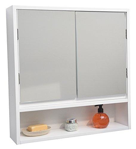 3 in 1 Spiegelschrank – 2 Türen + 1 Spiegel + 1 Ablage – Farbe WEIß