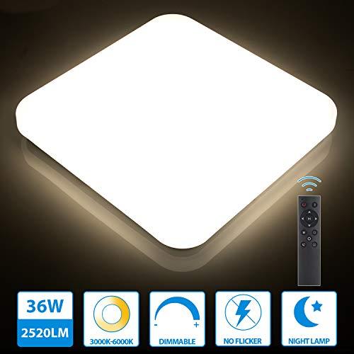 Oeegoo 36W LED Deckenleuchte dimmbar, 2520LM led Deckenlampe einstellbar Helligkeit(10{3cd5b719dd162fa27ed9ae076c8989c786c08fcdb1b490f6c36400c9bbe3dc4e} bis 100{3cd5b719dd162fa27ed9ae076c8989c786c08fcdb1b490f6c36400c9bbe3dc4e}) Lichtfarbe(3000K bis 6000K), led Wohnzimmerleuchte für Schlafzimmer Küche Büro Speicherfunktion