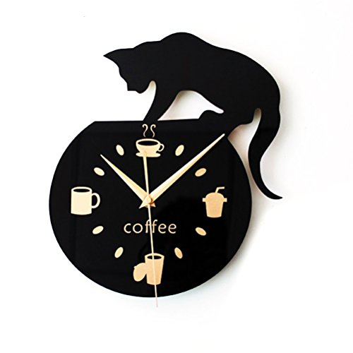 winomo Stille dibujos animados reloj de pared nette Escalada gato para beber café Reloj de pared Decoración Taza de café Reloj