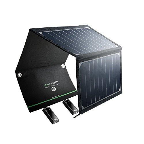 RAVPower Pannelli Solari Portatili Caricabatterie Solare da 16W con 2 Porte USB iSmart (21.5-23.5%...