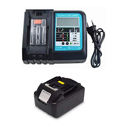 Batería de 18 V 5,0 Ah con cargador 3 A DC18RC para Makita BL1850 BL1830 BL1840 BL1860 18 V LXT batería para herramientas DC18RA con LED