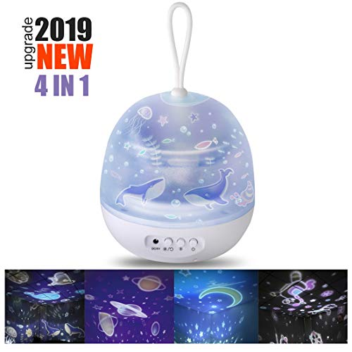 STN Proiettore per Bambini,Bambini Luce Notturna Cielo Stellato 360°Rotazione 8 Modalità Luce 4...