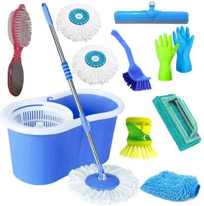 SHIVONIC Combo Classic Bucket Magic Spin Cleaning Bucket Mop Mop Set, Cleaning with Pedi Cleaner,Dish Brush, Tile Brush,Wiper,Hand Gloves,Glove,Toilet Brush (Pack of 9)