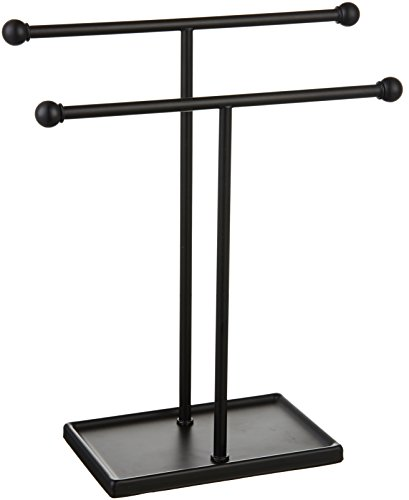 AmazonBasics Double-T Hand Towel and Accessories Stand - Black
