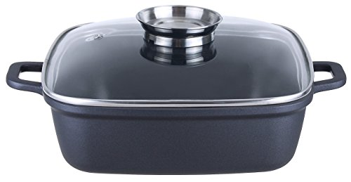 Kopf Bräter Santorin (Aluguss, 5 Liter, inkl. Glasdeckel mit Aromaknopf, Induktion) schwarz