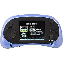 "MINGTA Kids Classic Retro tragbar Handheld Video Game Konsole wiederaufladbar Player 2.5 "" LCD 8 Bit 260 in 1 Spiele (blau)"