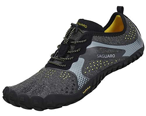 SAGUARO Zehenschuhe Unisex Sommer Trekking Schuhe Atmungsaktive rutschfeste Laufschuhe Schwarz Gr.41