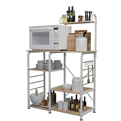 DlandHome 90CM Carrello per microonde Stoccaggio Utility da Cucina 3-Tier + 4-Tier Portaspezie...