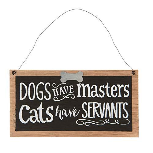EC C&E Vintage Retro Cartello Dogs Have Masters Materiale Legno 22x11 cm Legno Chiaro con Lavagna...