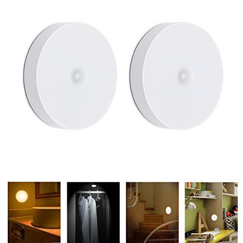 Luce notturna a LED con sensore di movimento, luce notturna ricaricabile, applique wireless, illuminazione calda, sveglia (2 PC)